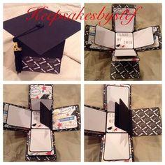 Este cuadro de la explosión de graduación es una gran idea del regalo para su graduado favorito. Si está graduando de la high School secundaria o un graduado de la Universidad esto será el mejor regalo. La caja puede ser hecha por encargo para adaptarse a los colores de su escuela y tiene un año de la borla en la tapa del casquillo de la graduación. Blanco y negro 2017 borlas disponibles. Cuando abres la caja te sorprenderá con todas las capas del amor y la diversión saliendo. Esto…