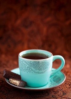 I love the color and pattern on this cup and saucer. It's simply lovely.