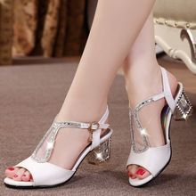 Singleback de moda Sandalias de Tacón Alto Verano de Las Mujeres 2016 Rhinestone Sandalias de Gladiador de Las Mujeres Zapatos de Boda de Cuero Genuino(China (Mainland))