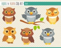 Owl Clip Art - color and outlines $