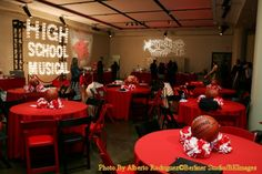 sports banquet decorating ideas | look at the decorations from the high-school-themed after-party.
