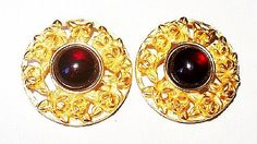 """Up for your consideration is this pair of Designer Red #Earrings Signed LCI Clip Ons Gold Roses Circle Shape 1 1/8"""" #Vintage presented by Brightgems Treasures.   Nice designe... #jewelry #vintage #teamlove #etsy #earrings"""
