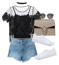 """""""Untitled #3764"""" by lily-tubman ❤ liked on Polyvore featuring Elie Tahari, Alexander Wang, Gucci, adidas Originals and Moncler"""