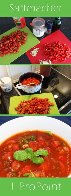 Rezept für Geröstete Tomaten-Paprika-Suppe ein Weight Watchers Sattmacher Rezept mit wenig Zutaten. Super gesund und schlank. Video: http://youtu.be/aBpTSdQ6bN4