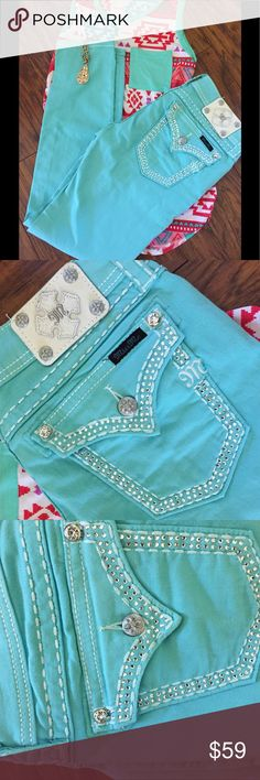 Mint Colored Ankle Skinny Miss Me Jeans As pictured these are in like new condition, beautiful color perfect for summer and the top pictured with it and the necklace is also available for sale in my closet. 30 x 30. These are a straight leg fit. Please no lowball offers as I have to pay for these items and spend a lot of time searching for these treasures for you! These are Tiffany colored mint is listed as the color. Miss Me Jeans Skinny