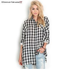 Compare Discount A Forever Women Tops Clothes Punk Style Long Sleeve Casual Black White Plaid Shirts Blouse Loose camisas Blusas femininas AFF429 #Forever #Women #Tops #Clothes #Punk #Style #Long #Sleeve #Casual #Black #White #Plaid #Shirts #Blouse #Loose #camisas #Blusas #femininas #AFF429