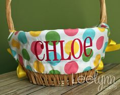 Personalized Easter Basket Liner  Girl Multi by LeelynnCrafts