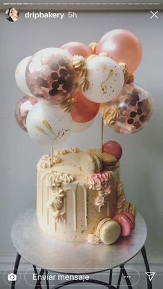 Beautiful cake with balloon cake topper Beautiful Birthday Cakes, Birthday Cakes For Women, Birthday Cake Girls, Beautiful Cakes, Happy Birthday, Candy Cakes, Cupcake Cakes, Birthday Drip Cake, Cake Lettering