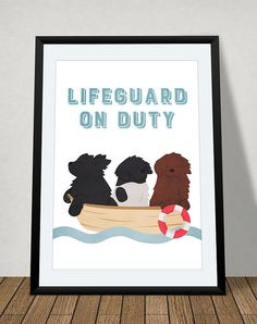 Newfoundland dog  lifeguard on duty poster door joinanotherview