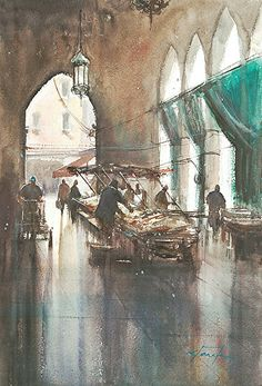 """Fish Market, Venice, Italy II"" by Keiko Tanabe Watercolor ~ 19 x 13 inches x 33 cm) Art Aquarelle, Watercolor Artists, Watercolor Landscape, Landscape Paintings, Watercolor Paintings, Watercolours, Watercolor Fish, Watercolor Techniques, Landscapes"