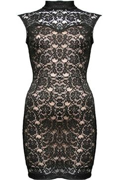 Victorian Lace Dress: Features a chic stand-up collar, sheer lace yoke with illusion sweetheart neckline, beautiful beige liner for pop, keyhole feature to the rear, and a beckoning body-conscious silhouette to finish.