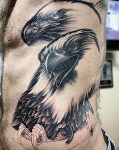 Pencil Shaded Bald Eagle Couple Tattoo Male Torso