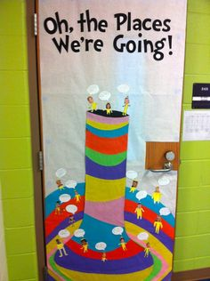 "Tri Fold Poster Board Decoration Ideas Inspirational Oh the Places We Re Going "" Dr Seuss Door Decor Bulletin"