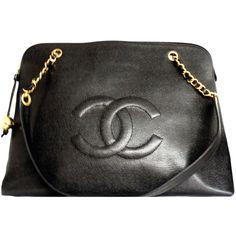 CHANEL Jumbo Caviar Logo Overnight Zipper Tote Bag ❤ liked on Polyvore