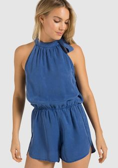 Shop Women's Bella Dahl size M Jumpsuits & Rompers at a discounted price at Poshmark. Description: Brand new without tags never worn. Dahl, Shades Of Blue, Patterned Shorts, Womens Fashion, Fashion Trends, Jumpsuit, Rompers, Tie, Outfits
