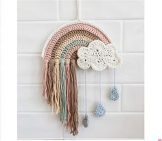 Crochet Wall Art, Crochet Wall Hangings, Rainbow Nursery, Rainbow Wall, Crochet Tools, Crochet Projects, Crochet Unicorn, Crochet Baby, Crochet Cat Pattern