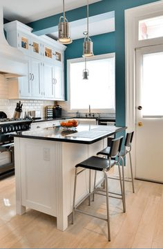 Black Kitchen Island Cart : Amazing contemporary kitchen purple kitchen cabinets is drop down ceiling kitchen ideas paired kitchen island ideas, paint color sw 6259 spatial white from sherwin-williams contemporary paint, window grills contemporary. Teal Kitchen Walls, Purple Kitchen Cabinets, Black Kitchen Island, Kitchen Wall Colors, Home Decor Kitchen, Interior Design Kitchen, New Kitchen, Kitchen White, Kitchen Paint
