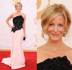 """Fashion hits and misses: The 2013 Emmy AwardsAnna Gunn earned a well-deserved Emmy for her work on """"Breaking Bad,"""" and she collected the prize in a not-quite-as-winning-but-still-nice black-lace and pink-satin Romona Keveza strapless gown. Meanwhile, an artfully rumbled, face-framing updo perfectly showcases a pair of million-dollar opal earrings from Irene Neuwirth."""