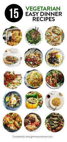 15 Easy Vegetarian Dinner Recipes -- a delicious collection of recipes from food bloggers | gimmesomeoven.com