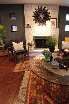 layered kilim rugs, fiddle leaf fig, west elm sisal, glass top stump table (Gateway Timberworks) living room by Peek Home Styling