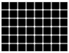 Puzzling Black Dots ~ The Question: How many black dots can you find in the image? Note that the image is static (i.e. it is not changing). You probably noticed some black dots appearing - at the location where gray bars cross - when your eyes scanned the image. However, no dots did actually appear or disappear; it is just an optical illusion! When you focus on such a crossing, you will see that there is no black dot at that location at all. Conclusion: there are no black dots in the image!