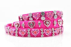 This item is unavailable Pink Dog Collars, Clay Beads, Big Dogs, Metal Buckles, Silver Beads, Pretty In Pink, Pink Flowers, Fur Babies, Unique Jewelry