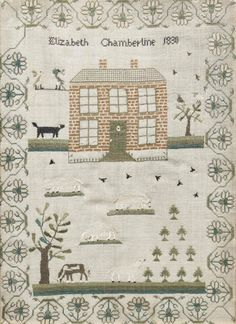 Elizabeth Chamberline - American - 1803. Cows and sheep in folate border. Note the dog next to the house.