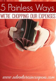 Are your expenses too high? Ours were so we're chopping them! Want to lower yours too? Take a look at these 5 Painless Ways we're Chopping Our Expenses to get started slashing today!