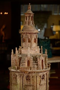 Antique Model of France's Oldest Lighthouse Le Phare de Cordouan France Early 19th-20th Century