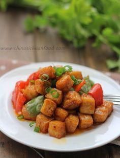 Kung Pao #tofu--stir-fried tofu with Kung pao sauce and peppers.