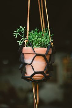DIY leather hanging planter with template