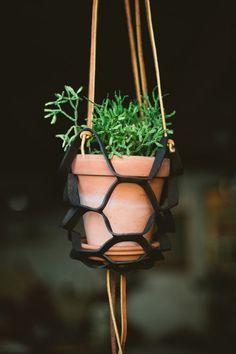 DIY: leather plant hanger