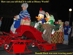Silly Disney Joke: Q: How can you tell that it was cold at Disney World?  A: Donald Duck was seen wearing pants!  ---To receive a list of 45 great Disney World freebies see: http://www.buildabettermousetrip.com/disney-freebies/   #DonaldDuckhttp://www.buildabettermousetrip.com/disney-freebies/ #DonaldDuck #Disneyjokes
