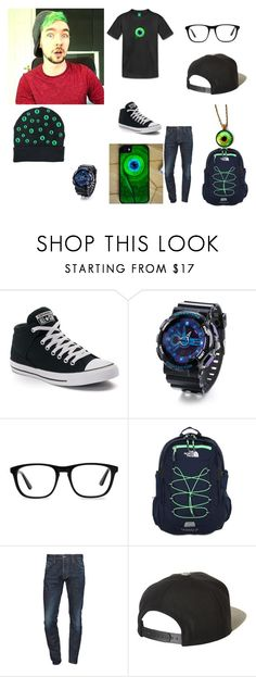 """""""Jacksepticeye"""" by scorpio-aki ❤ liked on Polyvore featuring Converse, Ace, The North Face, Dsquared2, Brixton, men's fashion and menswear"""