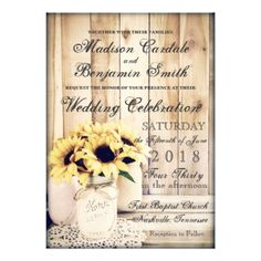 Rustic Country Sunflowers Mason Jar Wedding Invitations on barn wood. Two Sided Design. Perfect for a country wedding. OFF when you order Invites. Mason Jar Wedding Invitations, Sunflower Wedding Invitations, Country Wedding Invitations, Rustic Invitations, Wedding Invitation Cards, Shower Invitations, Card Wedding, Invitation Ideas, Wedding Stationery
