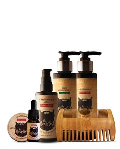 The Huntsman Collection  The Grand Collection is the quintessential set of beard products available on the market and comprises of Beard Oil, Beard Balm, Beard Wash, Hydrating Beard Conditioner, Moisturising Lotion and a Sandalwood Comb. Go ahead and treat yourself or your bearded friend.