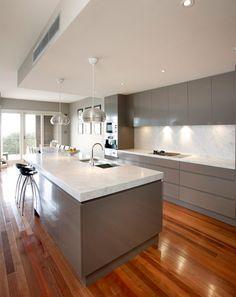 grey cupboards, white benchtops, white splashback, crisp & clean