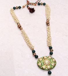 #Green & #White #Gold #Plated #Maharani #Necklace by #TI #Couture at #Indianroots