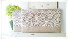 Large bridesmaids envelope linen clutch with lace (1 clutch only) on Etsy, $29.42
