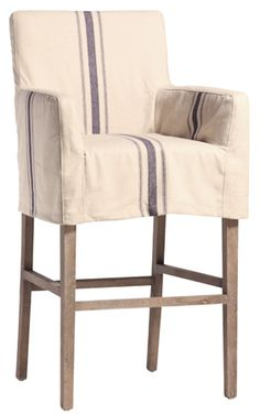"Striped Linen Slipcovered Barstool  Price: $490.00     Width/Length: 23""     Depth: 25""     Height: 44"""