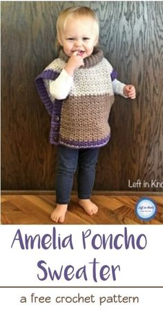 A FREE crochet pattern. This toddler poncho works up quickly with less than 400 yards of yarn. Easy to adjust in size and SO cute! Pattern written for Caron Cakes yarn and has a video tutorial available to help you with the edging.