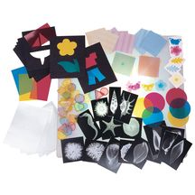 Light Exploration Set - Experiment with light, color and reflection with our Discount School Supply exclusive set. Components include: 17 Shell X-rays, Color Theory Shapes (stencils and color filters), 30 Translucent Jumbo Buttons, 24 Color Separation Sheets and 9 Color Circles.    $42.95
