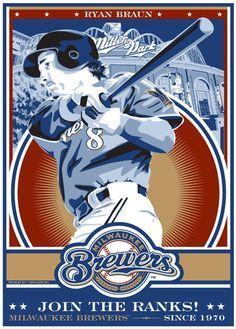 Ryan Braun - Milwaukee Brewers Baseball Screen Print. $50.00, via Etsy.