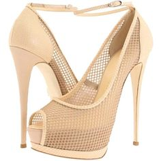 Pre-owned Giuseppe Zanotti Fishnet Platform Champagne Pumps (€450) ❤ liked on Polyvore featuring shoes, pumps, champagne, platform shoes, peep toe platform pumps, champagne shoes, peeptoe pumps и lightweight shoes