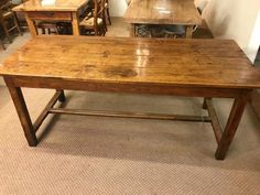 Antique oak h stretcher dining table, Antique oak refectory table.  - Dining Tables