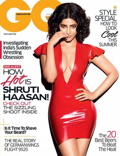 Shruti haasan was seen posing for the cover shoot of popular GQ Magazine's May edition. 'Red Alert – How Hot Is Shruti Haasan' is the tag