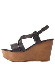 Bamboo Strappy Platform Wedge Sandals: Charlotte Russe