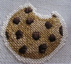 Little Shoppe needlepoint chocolate chip cookie, stitched by Janet M Perry