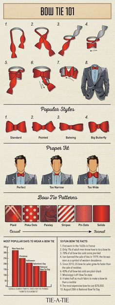 Bow Tie 101: Everything a man needs to know about bow ties (Bow Tie Infographic via Tie-a-Tie.net) #bowties