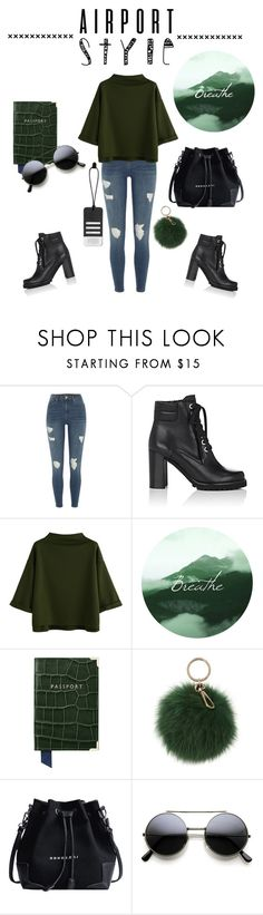 """""""Airport Style"""" by emma101203 ❤ liked on Polyvore featuring River Island, Barneys New York, WithChic, Aspinal of London, Coccinelle and Maison Margiela"""